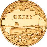 """reverse of 2 Złote - Polish Ships – """"Orzeł"""" Submarine (2012) coin with Y# 837 from Poland. Inscription: OKREET PODWODNY ORŻEŁ"""