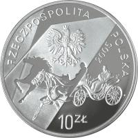 obverse of 10 Złotych - Konstanty Ildefons Gałczyński (1905-1953) - The 100th Anniversary of the Birth (2005) coin with Y# 537 from Poland. Inscription: RZECZPOSPOLITA POLSKA 2005 10 ZŁ