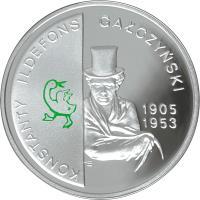 reverse of 10 Złotych - Konstanty Ildefons Gałczyński (1905-1953) - The 100th Anniversary of the Birth (2005) coin with Y# 537 from Poland. Inscription: KONSTANTY ILDEFONS GAŁCZYŃSKI 1905 1953
