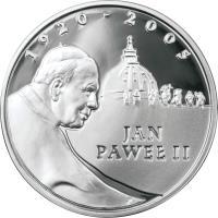 reverse of 10 Złotych - Pope John Paul II (2005) coin with Y# 539 from Poland. Inscription: 1920-2005 JAN PAWEŁ II