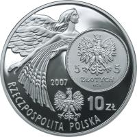 obverse of 10 Złotych - History of the Polish Zloty: 5 zloty of 1928 issue (Nike) (2007) coin with Y# 589 from Poland. Inscription: 5 ZŁOTYCH 5 ZŁOTYCH 1928 2007 10 Zł RZECZPOSPOLITA POLKA