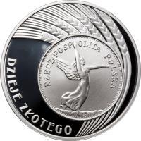 reverse of 10 Złotych - History of the Polish Zloty: 5 zloty of 1928 issue (Nike) (2007) coin with Y# 589 from Poland. Inscription: RZECZPOSPOLITA POLSKA DZIEJE ZLOTEGO