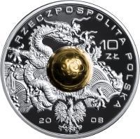 obverse of 10 Złotych - XXIXth Olimpic Games - Beijing 2008 (2008) coin with Y# 645 from Poland. Inscription: RZECZPOSPOLITA POLSKA 10 ZŁ 20 08