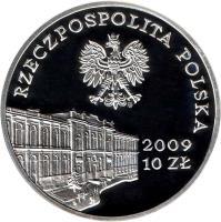 obverse of 10 Złotych - 180 Years of Central Banking in Poland (2009) coin with Y# 676 from Poland. Inscription: 2009 10 ZŁ RZECZPOSPOLITA POLSKA
