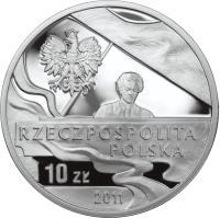obverse of 10 Złotych - Ignacy Jan Paderewski (2011) coin with Y# 790 from Poland.