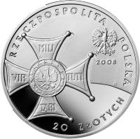 obverse of 20 Złotych - 90th Anniversary of Regaining Independence by Poland (2008) coin with Y# 651 from Poland.