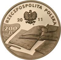 obverse of 200 Złotych - Czesław Miłosz (1911 - 2004) (2011) coin with Y# 787 from Poland.