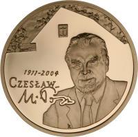 reverse of 200 Złotych - Czesław Miłosz (1911 - 2004) (2011) coin with Y# 787 from Poland.