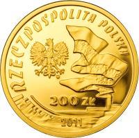 obverse of 200 Złotych - Ignacy Jan Paderewski (2011) coin with Y# 791 from Poland.