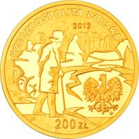 obverse of 200 Złotych - Boleslaw Prus (2012) coin with Y# 840 from Poland.