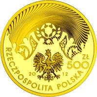 obverse of 500 Złotych - 2010-12 UEFA European Football Championship (2012) coin with Y# 831 from Poland.