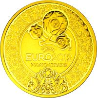 reverse of 500 Złotych - 2010-12 UEFA European Football Championship (2012) coin with Y# 831 from Poland.