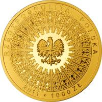obverse of 1000 Złotych - Beatification of John Paul II (2011) coin with Y# 776 from Poland.