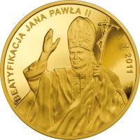 reverse of 1000 Złotych - Beatification of John Paul II (2011) coin with Y# 776 from Poland.