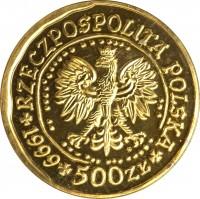 obverse of 500 Złotych - White-Railed Eagle - Gold Bullion (2002 - 2008) coin with Y# 295 from Poland. Inscription: RZECZPOSPOLITA POLSKA 1999 500 ZL