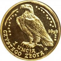 reverse of 500 Złotych - White-Railed Eagle - Gold Bullion (2002 - 2008) coin with Y# 295 from Poland. Inscription: 9999 1 UNCJA CZYSTEGO ZLOTA