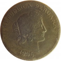 obverse of 20 Centavos (1942 - 1951) coin with KM# 221 from Peru. Inscription: REPUBLICA PERUANA 1945