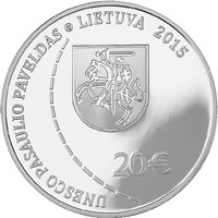 obverse of 20 Euro - Struve Geodetic Arc (2015) coin with KM# 217 from Lithuania. Inscription: UNESCO PASAULIO PAVELDAS LIETUVA 2015 €20