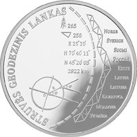 reverse of 20 Euro - Struve Geodetic Arc (2015) coin with KM# 217 from Lithuania. Inscription: STRUVĖS GEODEZINIS LANKAS
