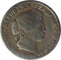 obverse of 10 Centavos (1918 - 1941) coin with KM# 214 from Peru. Inscription: REPUBLICA PERUANA UN MIL NOVECIENTOS VEINTISEIS