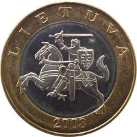 obverse of 2 Litai (1998 - 2014) coin with KM# 112 from Lithuania. Inscription: LIETUVA 2008