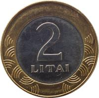 reverse of 2 Litai (1998 - 2014) coin with KM# 112 from Lithuania. Inscription: 2 LITAI