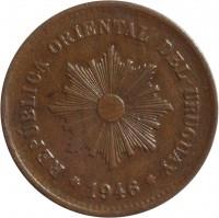 obverse of 5 Centésimos (1944 - 1951) coin with KM# 21a from Uruguay. Inscription: REPUBLICA ORIENTAL DEL URUGUAY 1946