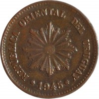 obverse of 2 Centésimos (1943 - 1951) coin with KM# 20a from Uruguay. Inscription: REPÚBLICA ORIENTAL DEL URUGUAY 1945