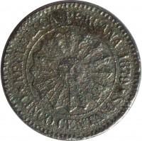 obverse of 5 Centavos (1879 - 1880) coin with KM# 197 from Peru. Inscription: REPUBLICA PERUANA 1979 CINCO CENTAVOS