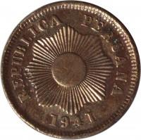 obverse of 1 Centavo (1901 - 1941) coin with KM# 208 from Peru. Inscription: REPUBLICA PERUANA 1941