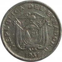 obverse of 10 Centavos (1937) coin with KM# 76 from Ecuador. Inscription: REPUBLICA DEL ECUADOR 1937