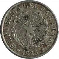 obverse of 2 Pesos (1925) coin with KM# 14 from Paraguay. Inscription: REPUBLICA DEL PARAGUAY 1925