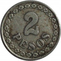 reverse of 2 Pesos (1925) coin with KM# 14 from Paraguay. Inscription: 2 PESOS