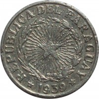 obverse of 5 Pesos (1939) coin with KM# 18 from Paraguay. Inscription: REPUBLICA DEL PARAGUAY * 1939 *
