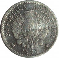 obverse of 10 Centavos (1881 - 1883) coin with KM# 26 from Argentina. Inscription: REPUBLICA ARGENTINA * 1883 *