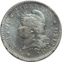 reverse of 10 Centavos (1881 - 1883) coin with KM# 26 from Argentina. Inscription: * LIBERTAD * 10 CENTos * 9 Dos FINO OUDINE