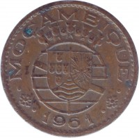 obverse of 20 Centavos (1961) coin with KM# 85 from Mozambique. Inscription: · MOÇAMBIQUE · · 1961 ·