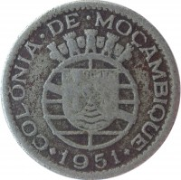 obverse of 50 Centavos (1950 - 1951) coin with KM# 76 from Mozambique. Inscription: COLONIA · DE · MOÇAMBIQUE · 1951 ·