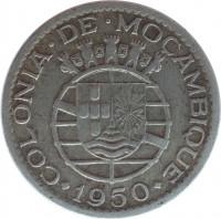 obverse of 1 Escudo (1950 - 1951) coin with KM# 77 from Mozambique. Inscription: COLONIA · DE · MOÇAMBIQUE 1950