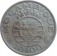 reverse of 10 Escudos (1968 - 1974) coin with KM# 79b from Mozambique. Inscription: MOÇAMBIQUE 10$00