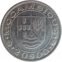 reverse of 20 Escudos (1971 - 1972) coin with KM# 87 from Mozambique. Inscription: MOÇAMBIQUE 20$00 M. NORTE