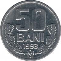 reverse of 50 Bani (1993) coin with KM# 4 from Moldova. Inscription: 50 BANI 1993