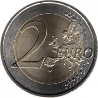 reverse of 2 Euro - 150th Anniversary of the Portuguese Red Cross (2015) coin with KM# 850 from Portugal. Inscription: 2 EURO LL