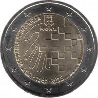 obverse of 2 Euro - 150th Anniversary of the Portuguese Red Cross (2015) coin with KM# 850 from Portugal. Inscription: CRUZ VERMELHA PORTUGUESA PORTUGAL ∙1865∙2015 INCM - A. M.
