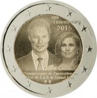 obverse of 2 Euro - Henri I - 15th anniversary of the accession to the throne of H.R.H. the Grand Duke (2015) coin from Luxembourg. Inscription: 2000 Luxembourg 2015 15ͤ anniversaire de l'accession au trône de S.A.R. le Grand-Duc
