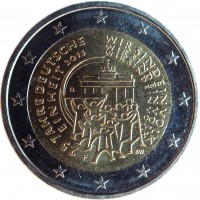 obverse of 2 Euro - 25 years of German Unity (2015) coin with KM# 337 from Germany. Inscription: 25 JAHRE DEUTSCHE WIR SIND EIN VOLK EINHEIT 2015 WIR SIND EIN VOLK WIR SIND EIN VOLK A A BW