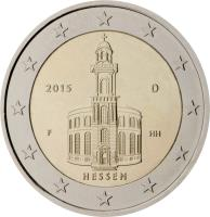 obverse of 2 Euro - Federal States: Hessen (2015) coin with KM# 336 from Germany. Inscription: 2015 D HH HESSEN