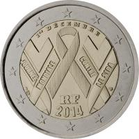 obverse of 2 Euro - The fight against AIDS by way of World AIDS Day (2014) coin from France.