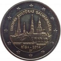 obverse of 2 Euro - Riga — European Capital of Culture 2014 (2014) coin with KM# 158 from Latvia. Inscription: EIROPAS KULTURAS GALVASPILSETA RIGA - 2014 LV