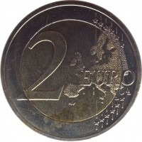 reverse of 2 Euro - Riga — European Capital of Culture 2014 (2014) coin with KM# 158 from Latvia. Inscription: 2 EURO LL